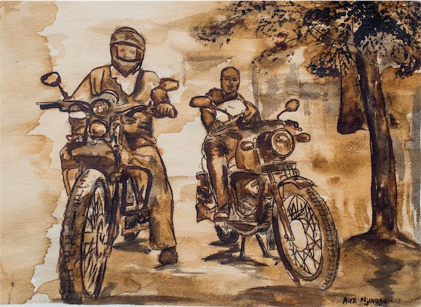 """Boda Boda Base"" / Coffee stain on paper / 32cm × 24cm / Ksh. 11,000 / CODE AN:2016:01"