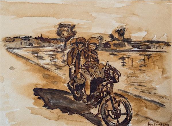 """Boda Boda Ride"" / Coffee stain on paper / 32cm x 25cm / Ksh. 11,000 / CODE AN:2016:04"