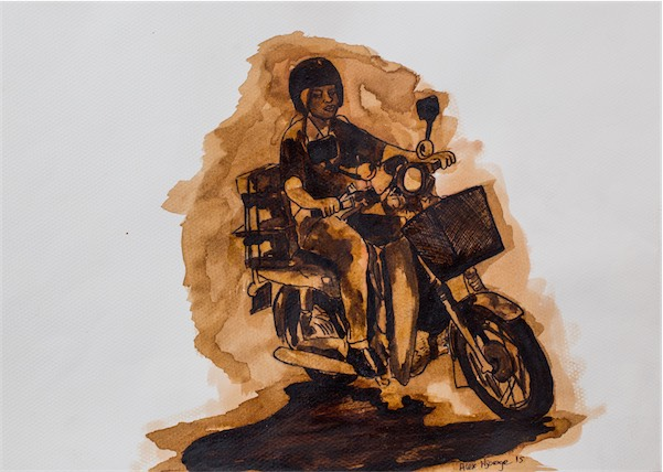 """Delivery Girl"" / Coffee stain on paper / 38cm × 26cm / Ksh 13,000 / CODE AN:2016:02"