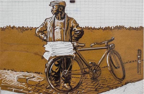 """Nawahi Kazini"" / Charcoal on paper 21cm x 30cm / Ksh 7,000 / CODE CC:2015:02"