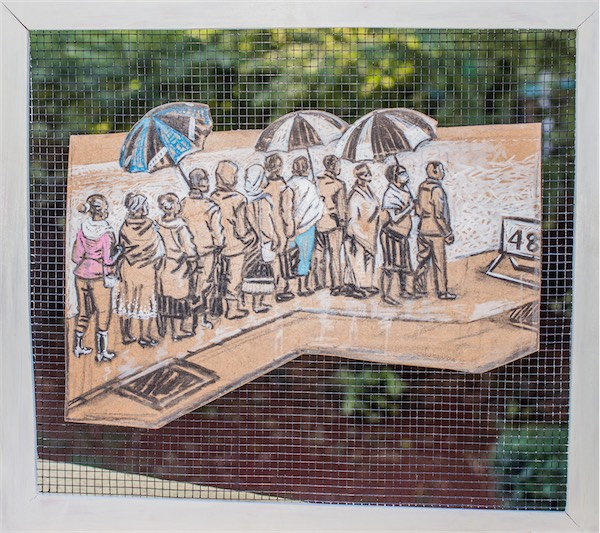 """""""Waiting for a Bus"""" / Charcoal on paper and wire mesh / 40x45cm / Ksh 49,000 / CODE CC:2015:01"""