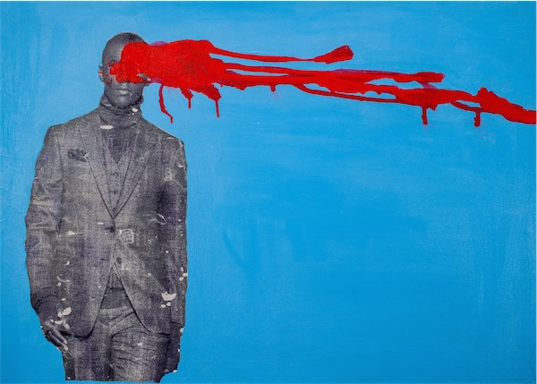 """""""Blue and Red"""" / Mixed Media / 90cm x 65cm / Ksh 50,000 / Code no LN:2016:03"""
