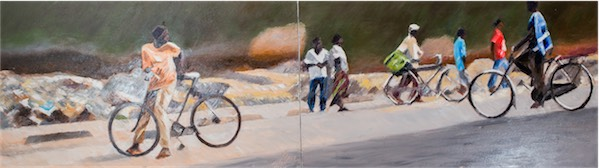 """Mteremko (Downhill)"" / Oil on canvas (Diptych) / 274cm x 83cm / Ksh. 650,000 / CODE SG:2016:02"