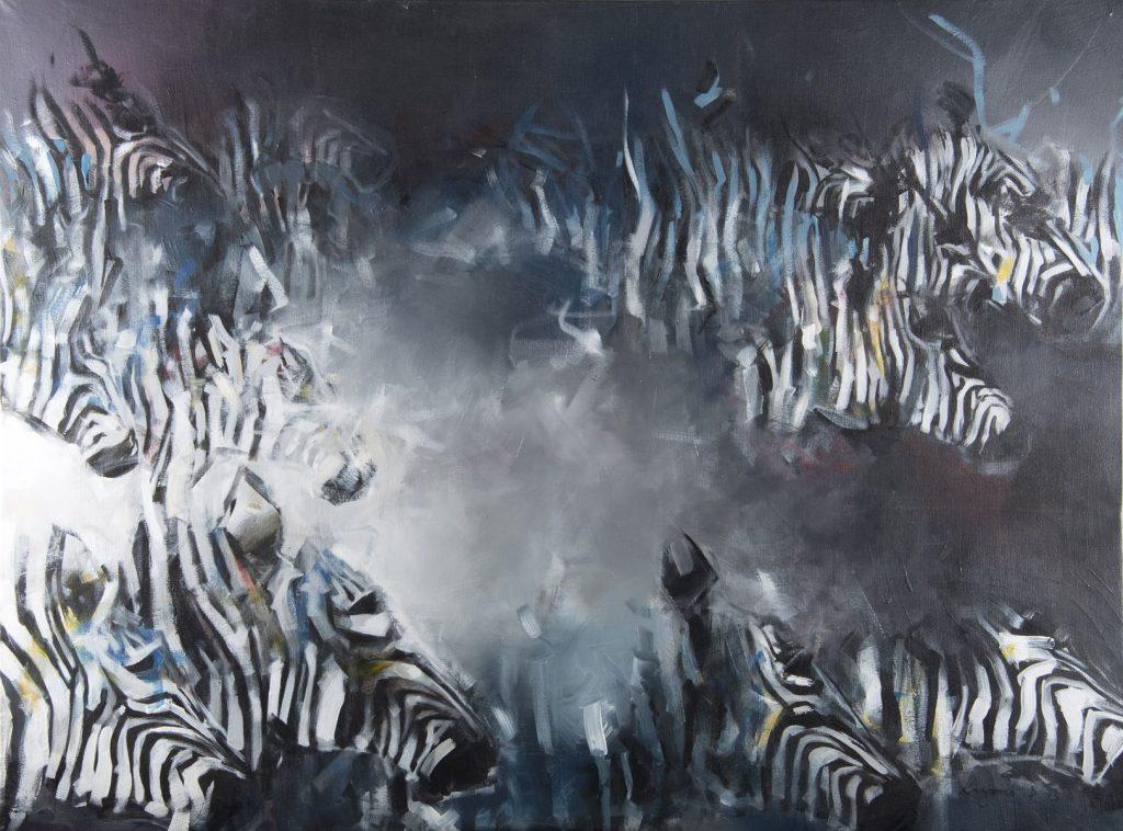 """Zebras in Darkness"" / Acrylic on Canvas  / 102cm x 138.5cm / Ksh 140,000 / CODE  DK:2016:0"